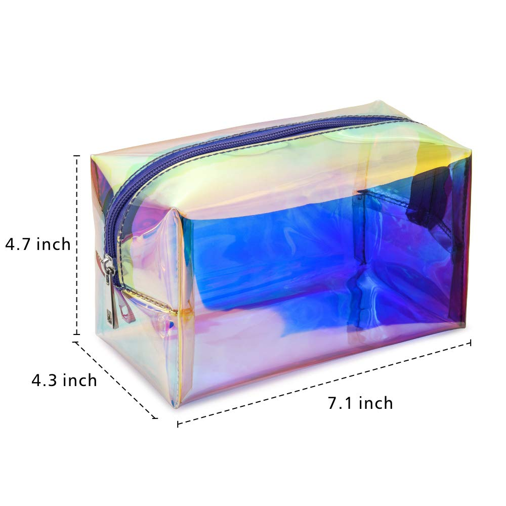 Holographic Makeup Bag, Veckle Clear Cosmetic Bag Large Travel Iridescent Toiletry Pouch Clutch Purse Organizer Hologram Handbag Make-up Storage Cases for Women Girls Purple