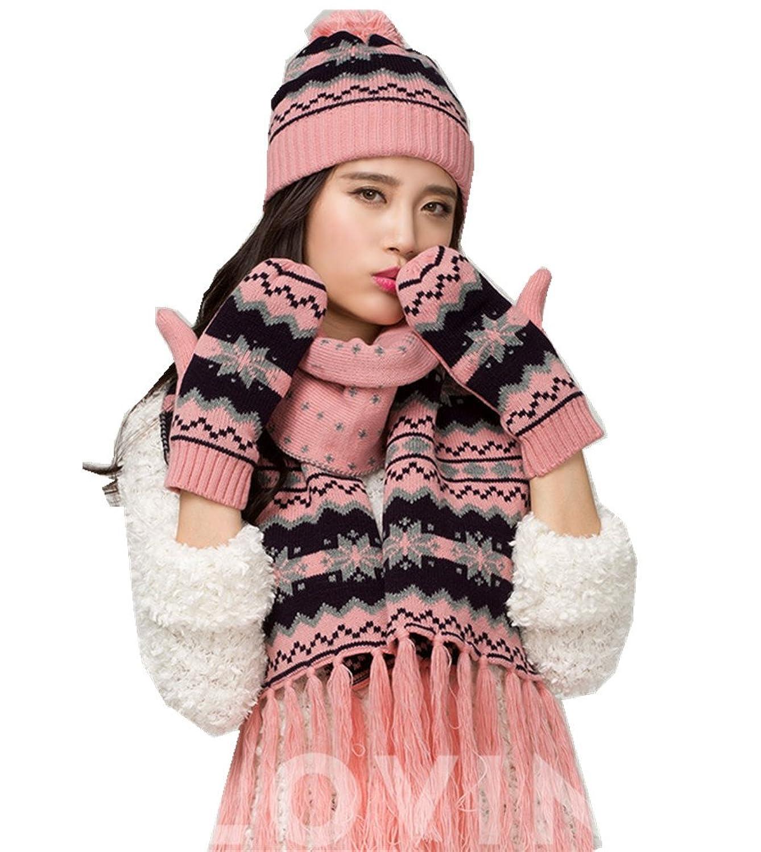 Female Winter-Schneeflocke Warm Knitting Hut / Schal / Handschuhe von Withered Set