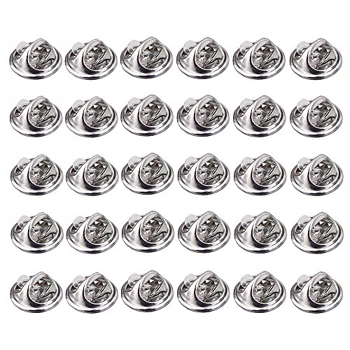 Butterfly Tags - ThreeBulls 30 Pcs Silver Comfort Fit Butterfly Clutch Metal Pin Backs Replacement (Silver)