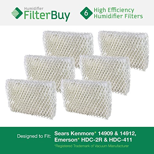 Emerson HDC-2R & HDC-411, Sears Kenmore 14909 & 14912 Humidifier Wick Filter. Designed by FilterBuy. Pack of 6 Filters.