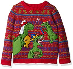 Blizzard Bay Boys\' Three Wise Raptors Xmas Sweater, Blue, Red/Green, 7