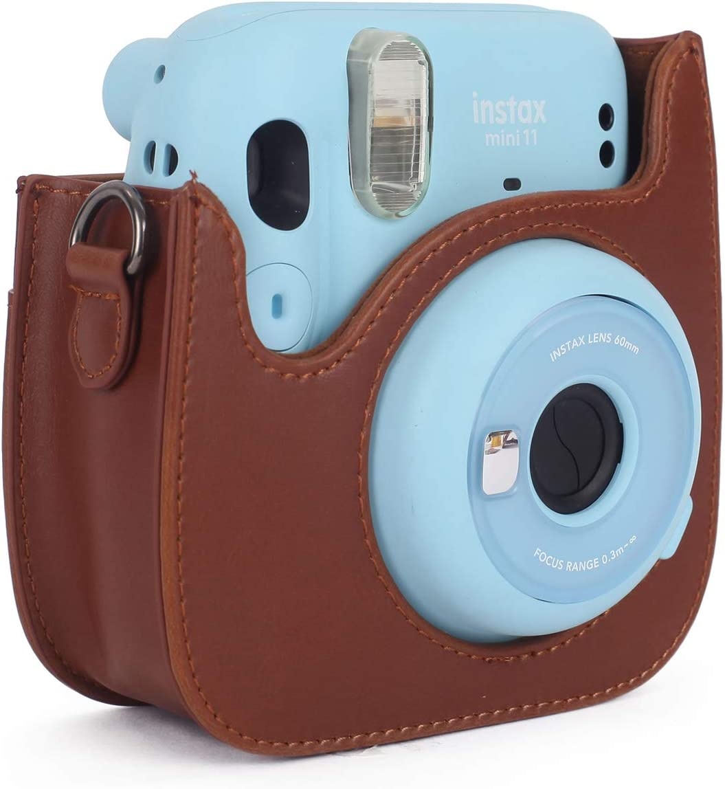 Brown KALDA Instant Camera Case Compatible with Fujifilm Instax Mini 11 with Removable Shoulder Strap and Photo Pocket