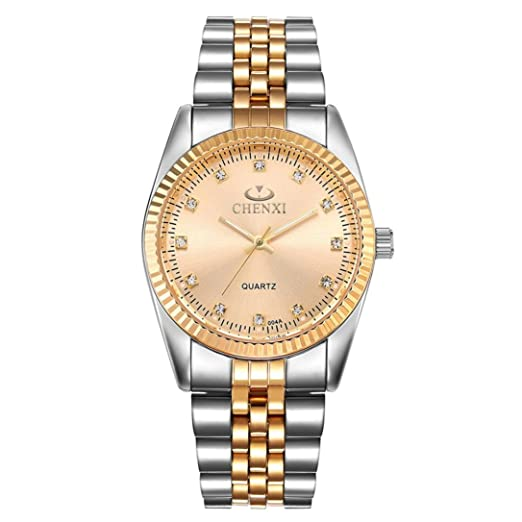 Relojes Hombre,❤LMMVP❤Hombres de oro reloj de oro de moda reloj completo