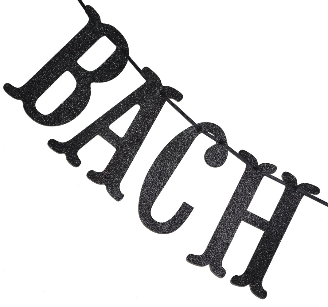Bach Shit Crazy Banner Black Glitter Bachelorette Party Wedding Shower Funny Decor Bunting Photo Booth Props Sign