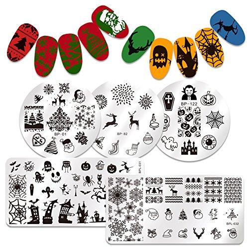 BORN PRETTY 5Pcs Nail Art Stamping Plate Christmas Halloween Santa Elk Pumpkin Snow Cobweb Manicure Print Template Image Plate (New Halloween Nail Art)
