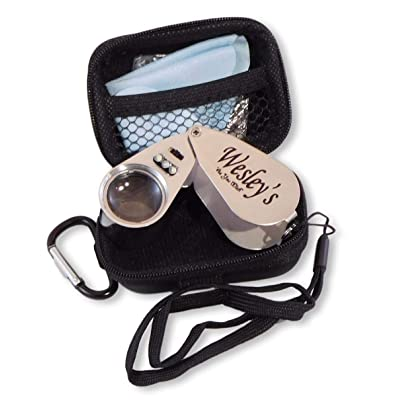 40X Jewelers Loupe Magnifier Hand Lens LED/UV Illuminated, Jewelry Magnifying Glass with Travel Case for Gardening, Kids, Coin, Stamp and Rock Collecting by Wesley's as you wish: Office Products