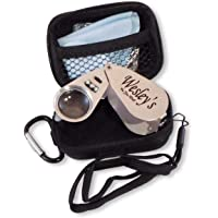 40X Illuminated Jewelers Eye Loupe LED/UV Light Magnifying Glass with All Metal Construction Precision Optical Glass Best Pocket Folding Magnifier Glass has Cover to protect lens from Damage