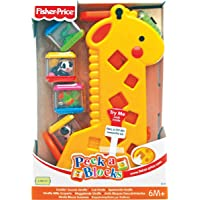 Girafa Pick a Block Fisher Price, Mattel, Amarelo