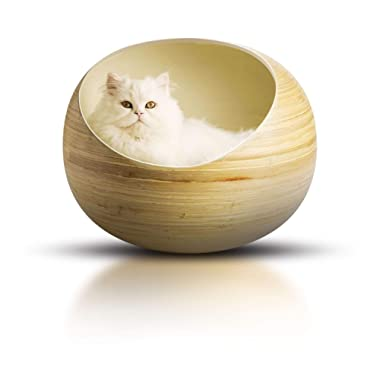 Fhasso Luxury Bamboo Cat Bed - Eco-Friendly, Natural, Handmade Cat Cave Bed with Washable Velvet Cushion - Enclosed Premium Wooden Pet Bed - Modern, Decorative Design