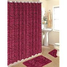 4pcs Bath Rug Set Zebra Pink Print Bathroom Rug Shower Curtain Mat / Rings