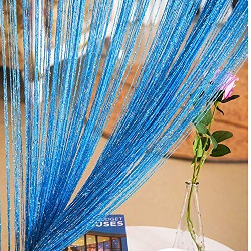 Duosuny 39x78 Inch Door String Curtain Rare Flat Silver Ribbon Thread Fringe Window Panel Room Divider Cute Strip Tassel for Wedding Coffee House Restaurant Party Parts (Blue)
