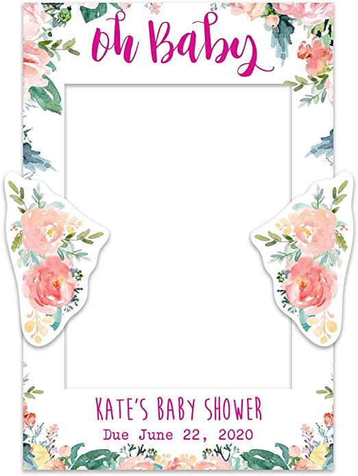 Tropical Baby Shower Selfie Frame Paper Themes Personalised Baby Shower Selfie Frame