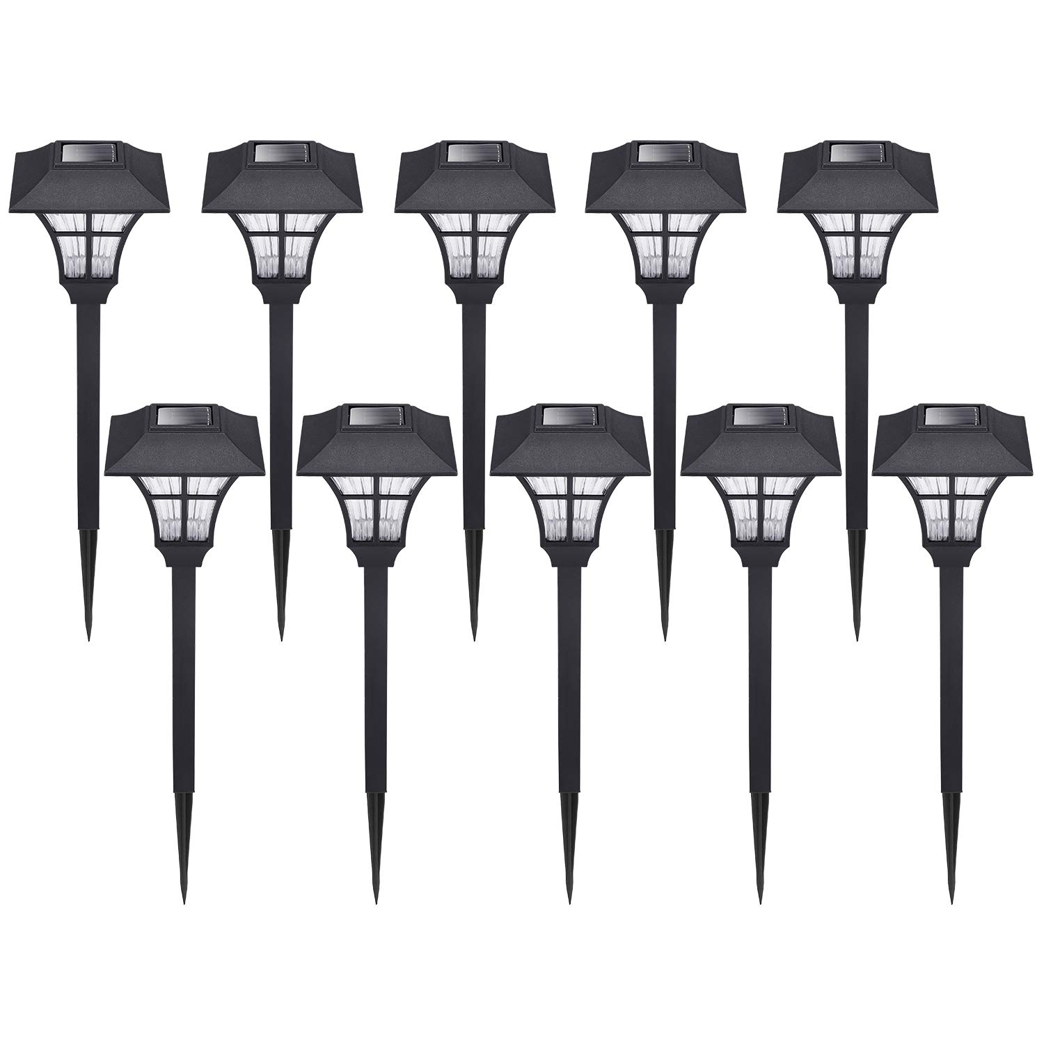 HECARIM Solar Lights Outdoor, 10 Pack Solar Pathway Lights, Solar Powered Garden Lights, Waterproof LED Solar Landscape Lights for Walkway, Pathway, Lawn, Yard and Driveway
