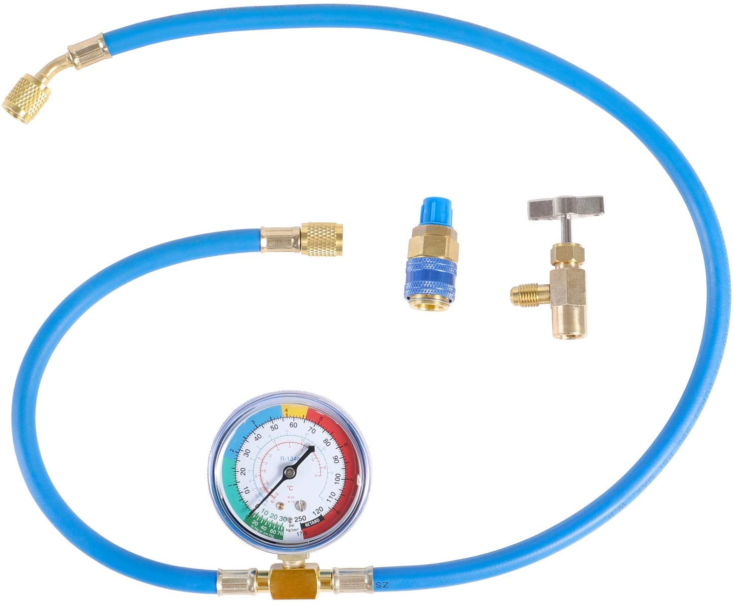 """JIFETOR AC Charge Hose with Gauge for R134A R12 R22, Car HVAC Refrigerant Recharge Kit, Home Air Conditioning U Charging Hose Low Pressure Measuring Meter 1/4"""" Fittings Can Tap Quick Coupler, 42"""" Long"""