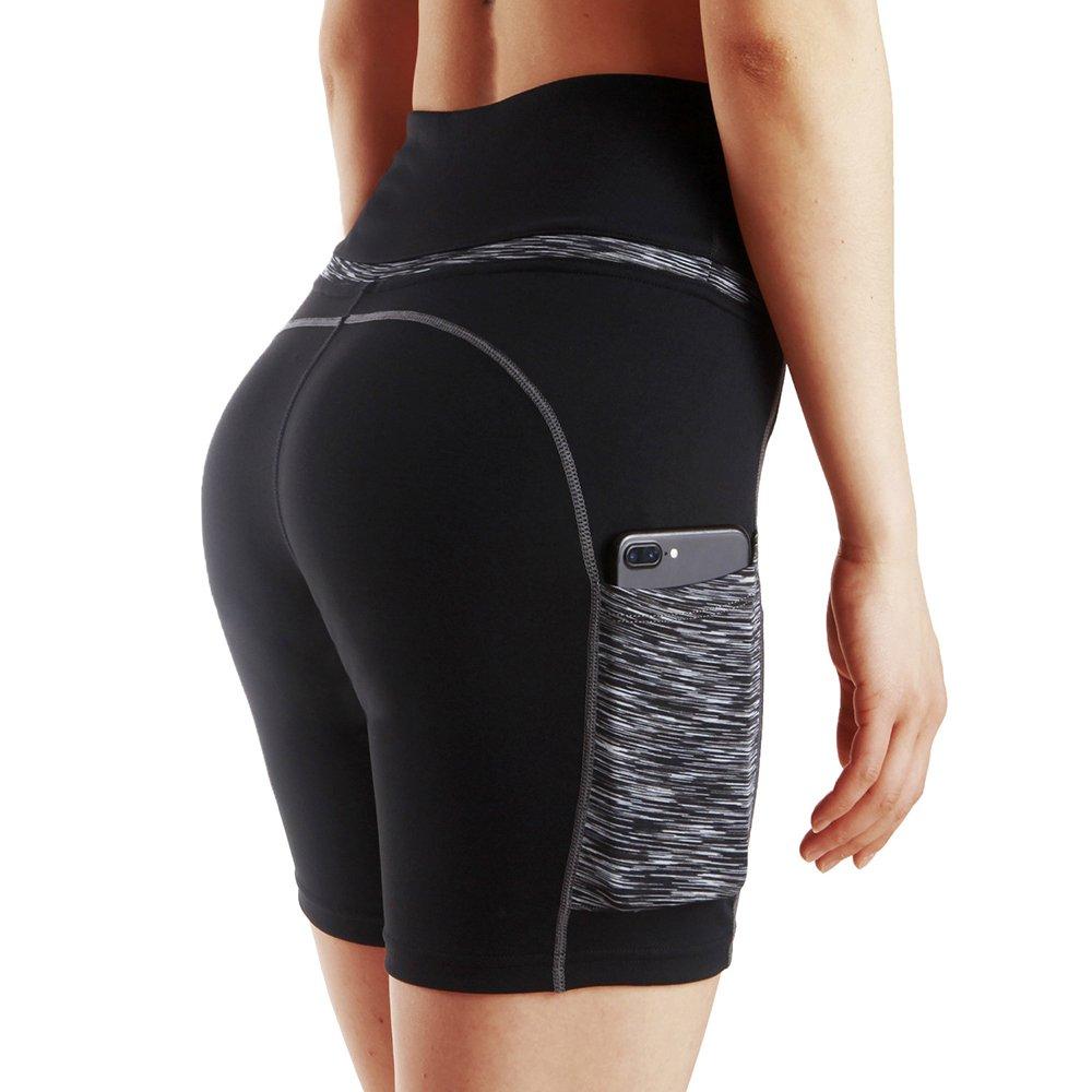 Les Femmes de Haute Taille Splice Yoga Leggings Gym Work Out Running Shorts 2 Poche lat/érale