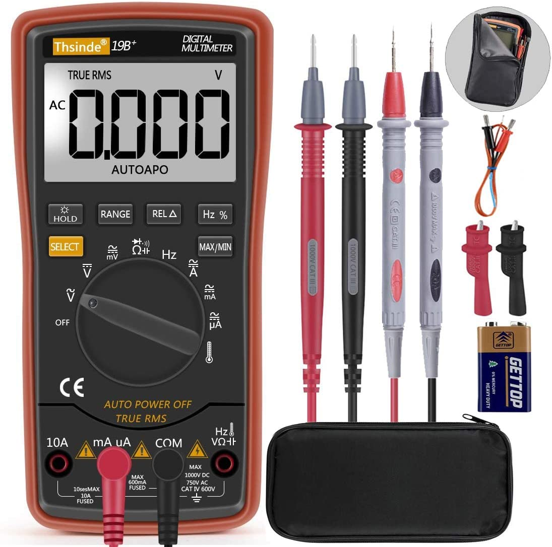 Autoranging Multimeter Test for Temperature AC DC Voltage, Current, Resistance, Continuity, Capacitance, Frequency,Diodes Transistors