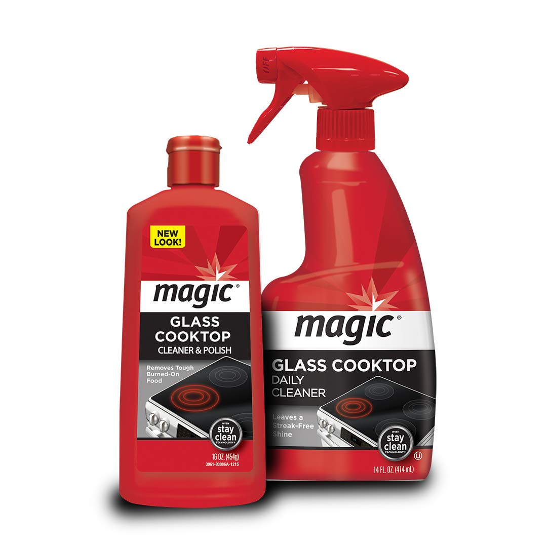 MAGIC Glass Cooktop Cream Cleaner & Polish - 16 oz. and Daily Cleaner - 14 Ounce - Cleans and Protects Glass and Ceramic Smooth Top Ranges with its Gentle Formula by MAGIC (Image #1)