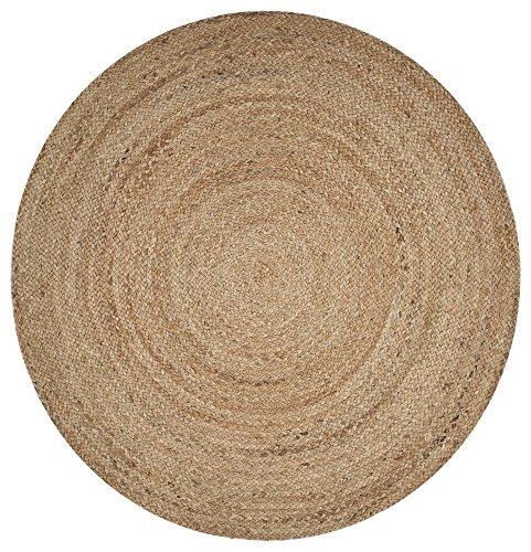 (LR Resources NATUR50136NAT40RD Natural Jute Indoor Area Rug, 4' x 4' Round,)