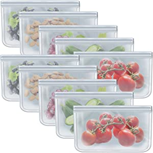 Food Storage Bags Reusable Ziplock Freezer Bags for Vegetable, Liquid, Snack, Meat, Sandwich, 10.2x7.87 Inch, 10 Pack