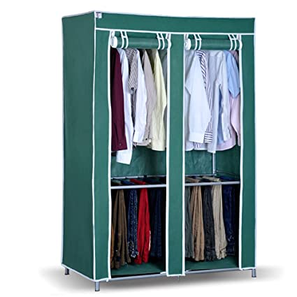 Win Win Portable Storage Closet With Rolling Curtain Wardrobe Closet  Clothes Organizer Cabinets Armoire (