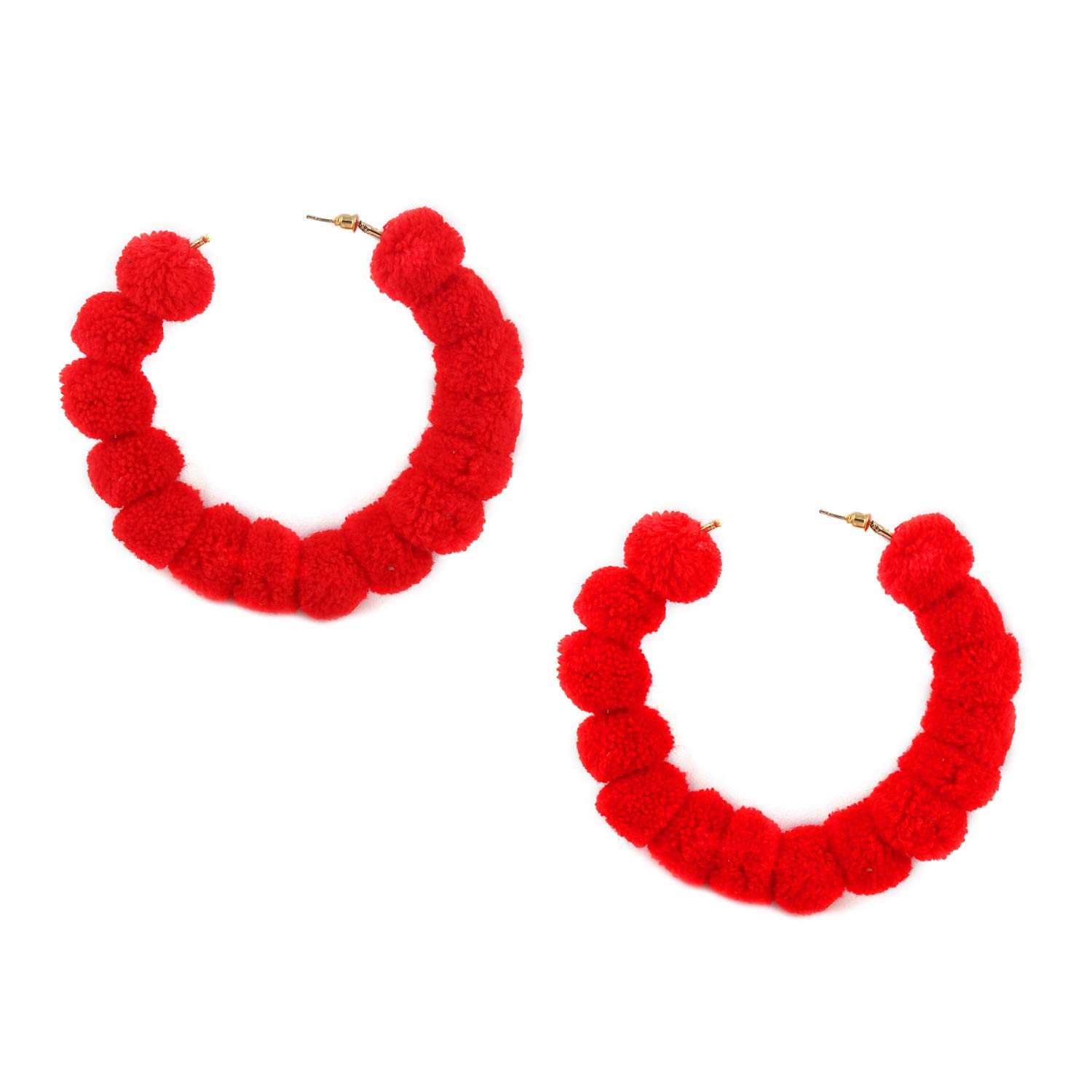 648aaf62241e74 Amazon.com: ASHI'S Collection Hand crafted Round circle Red Pom Pom Hoop  earring for women & girls: Jewelry
