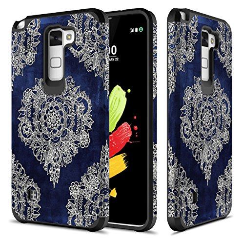 LG Stylus 2 Plus Case, TownShop Moroccan Floral Design Hard Impact Dual Layer Shockproof Bumper Case For LG Stylus 2 Plus/ Stylo 2 Plus/ LG K530/ LG K535