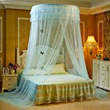 RuiHome Elegant Round Lace Canopy Hanging Mosquito Net for Bed Twin Full Queen Home Decor (Aqua Blue)