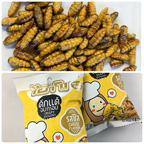 - HISO Snack Cheese Flavor Thai Edible Insect Pupae Crispy Silk Worm 15 g.