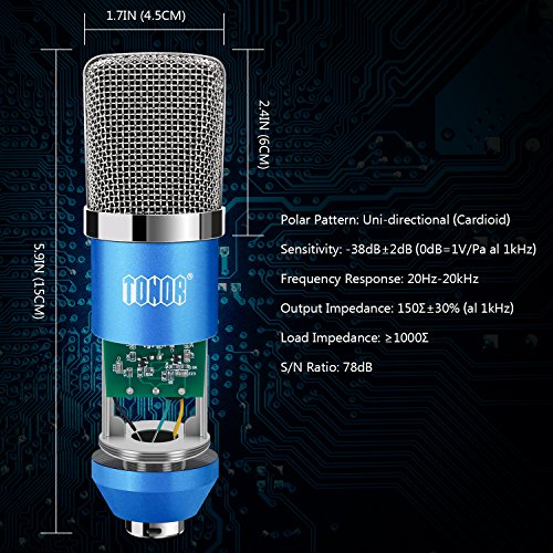 TONOR Professional Studio Condenser Microphone Computer PC Microphone Kit with 3.5mm XLR / Pop Filter / Scissor Arm Stand / Shock Mount for Professional Studio Recording Podcasting Broadcasting, Blue - Image 1