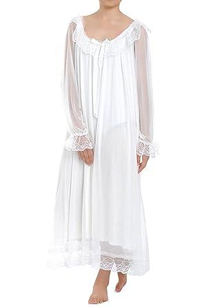 Dentelle Nuit Victorien Lalander Femme Pyjama De Avec Style Chemise ggqzEnY