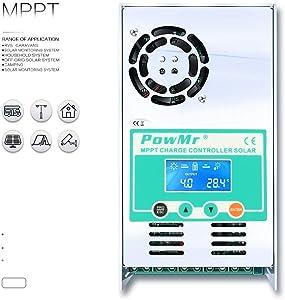 PowMr 50amp MPPT Charge Controller 48V 36V 24V 12V fit AGM Gel Flooded User Off-Grid Max 190VDC (50A-MPPT)