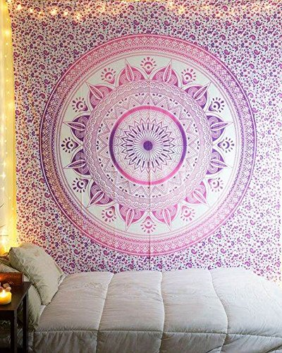 (Hippie Mandala Tapestry Indian Popular Handicrafts Multi Color Hippie Wall Hanging for Bedroom Living Room Dorm Bohemian Psychedelic Indian Bedding Theme Print Home Decoration Art (Mandala15, 59Wx51L))