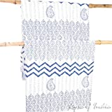 EYES OF INDIA - Indigo Blue Decorative Quilt Kantha Tapestry Throw Bedspread Bohemian Boho Indian