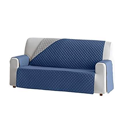 Jarrous Funda Cubre Sofá Práctica Modelo Reversible Guadalaviar, Color Azul-Gris Claro, Medida 2 Plazas de 110cm Respaldo