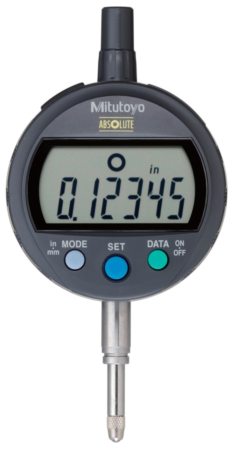 Mitutoyo 543-391B Absolute LCD Digimatic Indicator ID-C, Standard Type, M2.5X0.45 Thread, 8mm Stem Dia., Flat Back, 0-0.5''/0-12.7mm Range, 0.00005''/0.001mm Graduation, +/-0.0001'' Accuracy