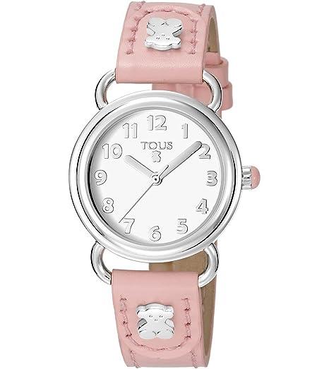 Reloj TOUS Baby Bear de acero con correa de piel rosa Ref:50035018, Niña: Amazon.es: Relojes
