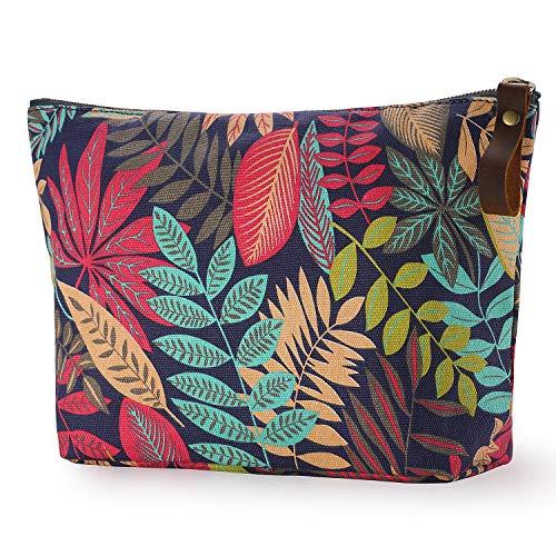 (SMRITI Canvas Large Makeup Bag Pouch Purse Handbag Organizer with Zipper (Flower 1))