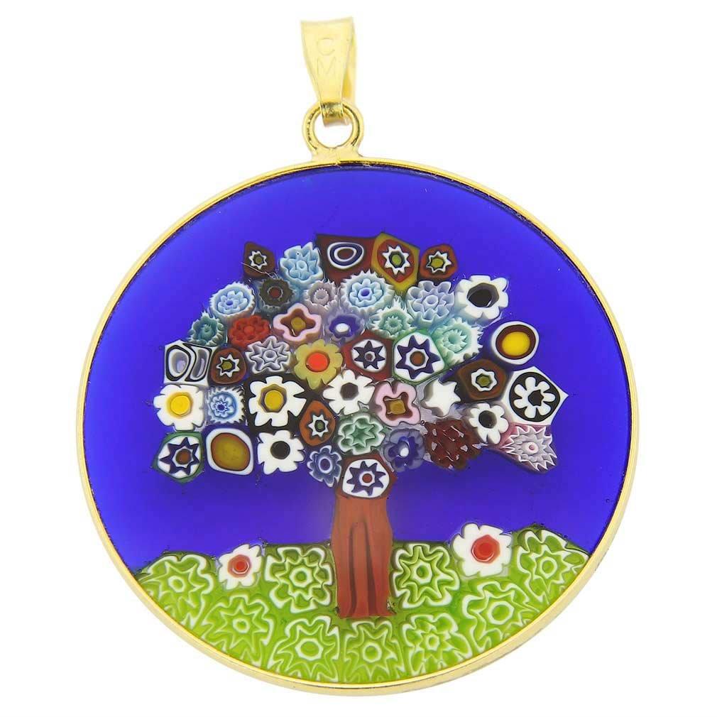 "GlassOfVenice Murano Glass Millefiori Pendant Tree of Life in Gold-Plated Frame 1-1/4"""