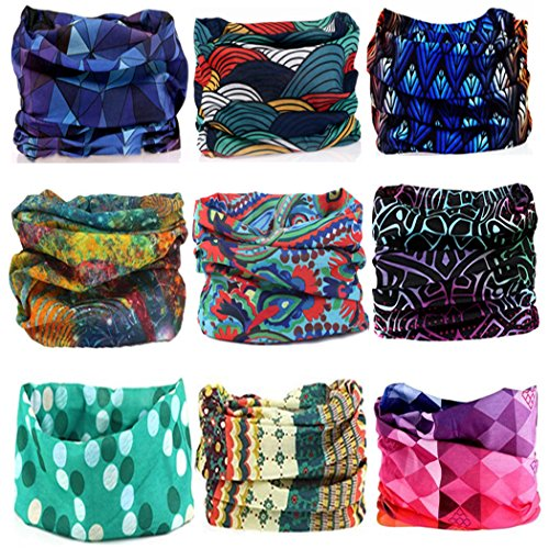 KALILY 9PCS Headband Bandana - Versatile 12-in-1 Sports & Casual Headwear -Multifunctional Seamless Neck Gaiter, Headwrap, Balaclava, Helmet Liner, Face Mask for Camping, Running, Cycling, Fishing etc