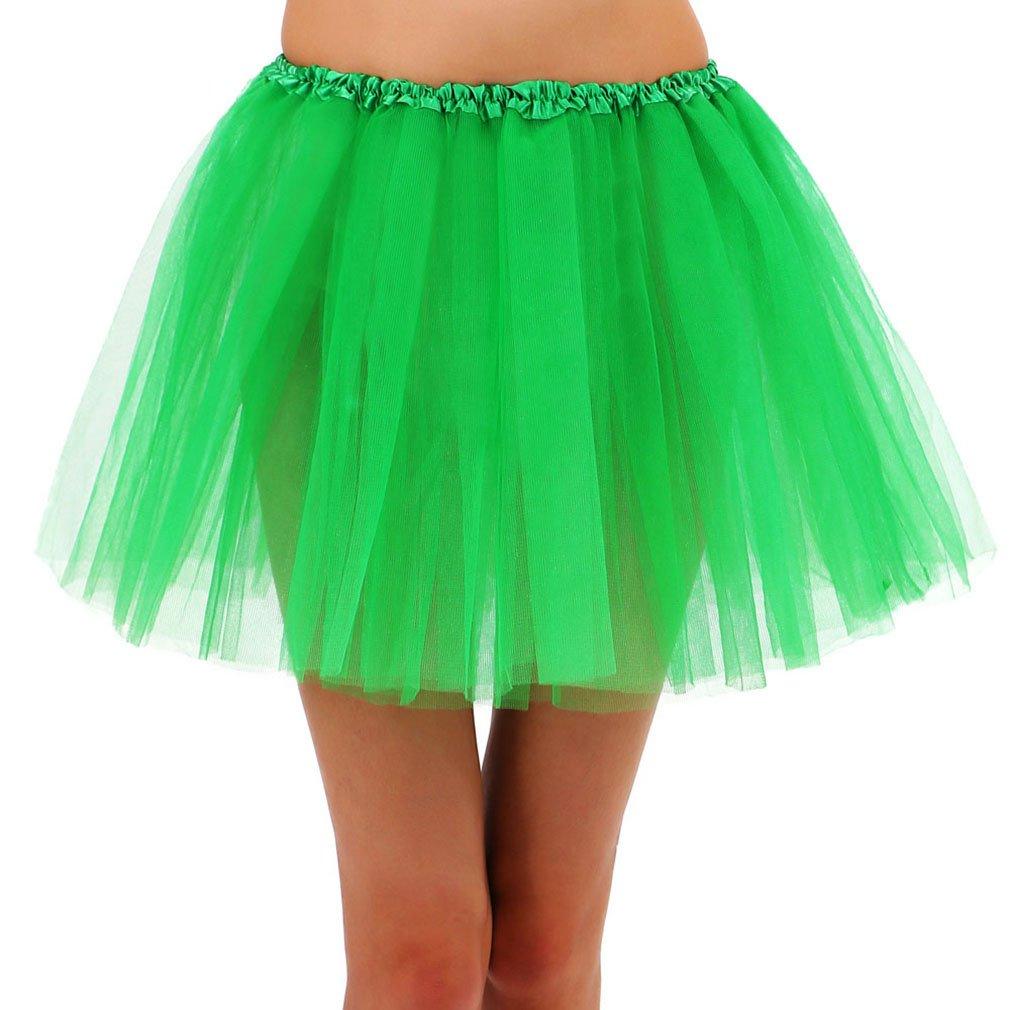 Women's 3 Layered Tulle Ballerina Running Tutu Mini Party Skirt - Dark Green