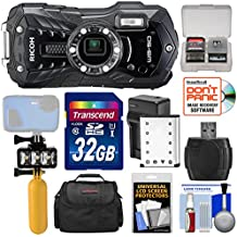 Ricoh WG-50 Waterproof / Shockproof Digital Camera (Carbon Grey) with 32GB Card + Battery & Charger + Diving LED Video Light + Buoy Handle + Case Kit