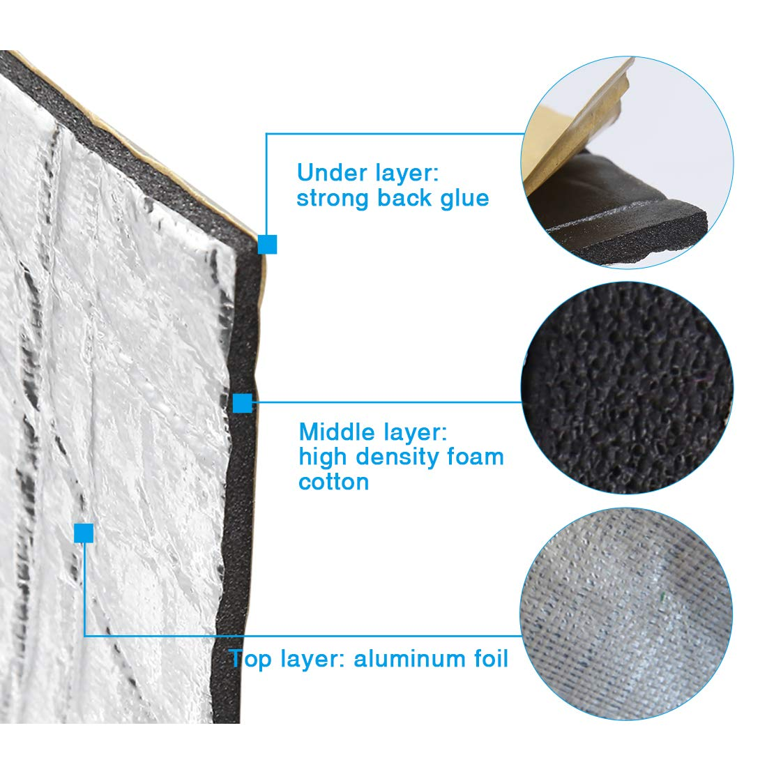 uxcell 197mil//5mm 86sqft Sound Deadening Heat Deadener Insulation Mat Intensive Alumium Foil Acoustic Barrier 314.96 inches x 39.37 inches// 800 x 100cm