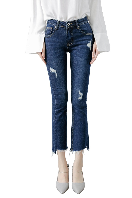 Mena Uk- Le nuove Micro-La nove punti dei jeans signora signora dei jeans a tubo jeans a vita sottil...