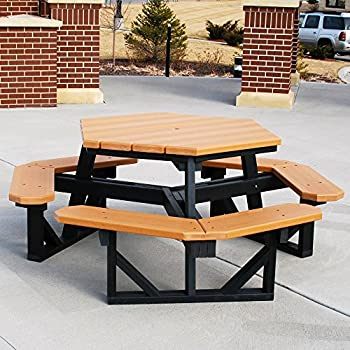 Amazoncom Jayhawk Plastics Hex Recycled Plastic Commercial Picnic - Recycled plastic octagon picnic table