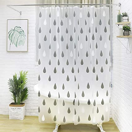 Shower Curtain EVA Or Liner Creative Raindrops Waterproof Mildew Resistant Thicken Bathroom Decoration Bath With Hooks Size 87X79