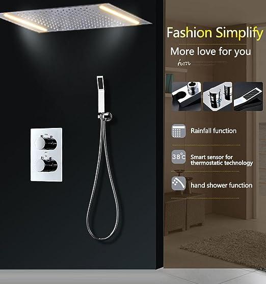 hm Sistema de ducha de lluvia LED con 2 bombillas con chorro de ducha termostática baño techo de masaje: Amazon.es: Hogar