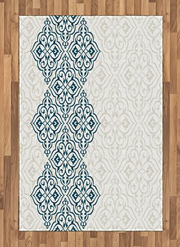 Ethnic Area Rug by Lunarable, Arabesque Pattern Vintage Damask Effects Curved Persian Floral Arabian Inspired Print, Flat Woven Accent Rug for Living Room Bedroom Dining Room, 4 x 6 FT, Teal by Lunarable