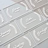 UNIQOOO 100 Count Clear Acrylic Escort Place Cards - Rectangle Shape - Perfect for Wedding, Birthday Parties, Table Numbers, Guest name, Food Signs and Special Event Decoration, 3 1/2 x 2 inch