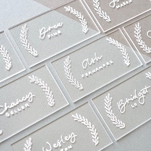 UNIQOOO 100 Clear Acrylic Escort Place Cards - Rectangle Shape Acrylic Plates - Perfect for Wedding, Dinner Parties, Table Numbers, Guest Name, Food Signs and Special Event Decoration, 3 1/2 x 2 inch ()