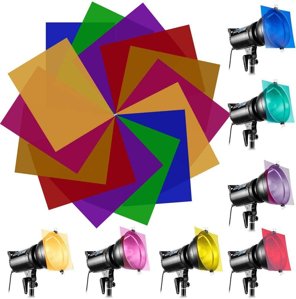 EMAGEREN 14PCS filtros de Colores para Luces Filtro de Gel Láminas de Plástico Filtros de Compensación y corrección de Colores Filtro Color Gel, 7 Colores, Filtros Difusores Universales de Colores